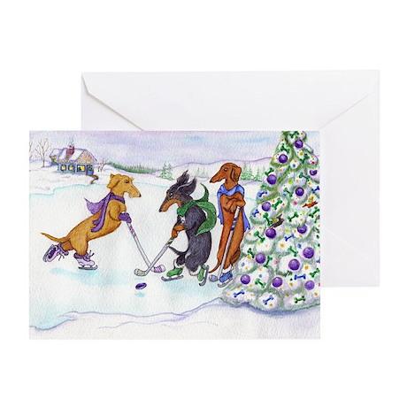 Ice Hockey Dachshunds Christmas Card