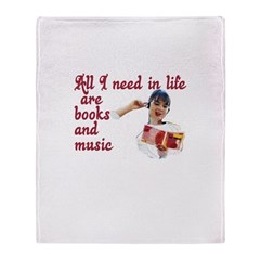 Books and Music Throw Blanket
