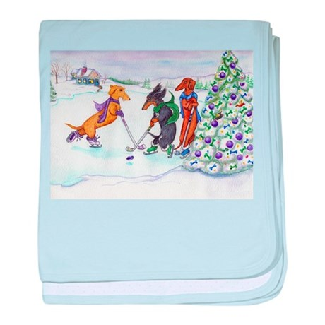 Hockey Dachsies baby blanket