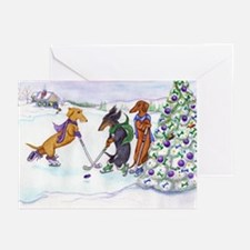 Ice Hockey Dachsies Greeting Cards (Pk of 10)