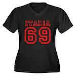 Vintage Italia 69 Women's Plus Size V-Neck Dark T-