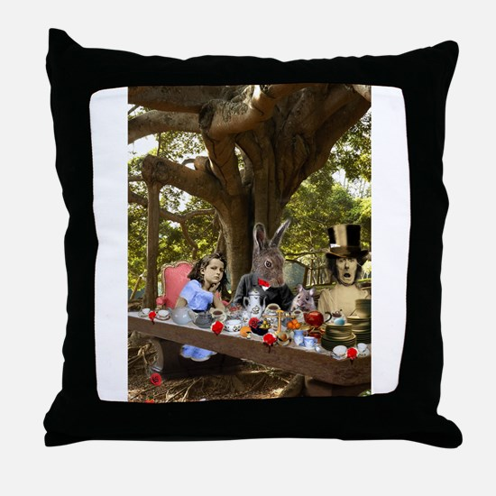 A Mad Tea Party (full) Throw Pillow