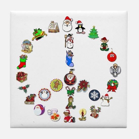 Christmas Peace Sign Tile Coaster