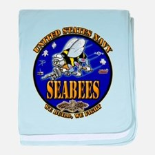 US Navy Seabees We Build, We Fight baby blanket