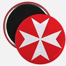 White Maltese Cross Magnet