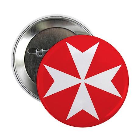 "White Maltese Cross 2.25"" Button"