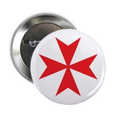 "Red Maltese Cross 2.25"" Button"