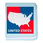United States Map on 4 Square baby blanket