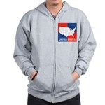 United States Map on 4 Square Zip Hoodie