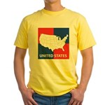 United States Map on 4 Square Yellow T-Shirt