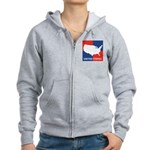 United States Map on 4 Square Women's Zip Hoodie