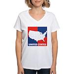 United States Map on 4 Square Women's V-Neck T-Shi