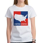 United States Map on 4 Square Women's T-Shirt
