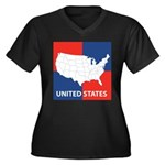 United States Map on 4 Square Women's Plus Size V-