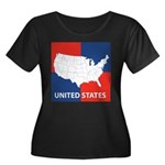 United States Map on 4 Square Women's Plus Size Sc