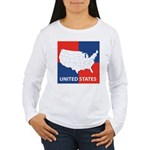 United States Map on 4 Square Women's Long Sleeve
