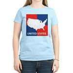 United States Map on 4 Square Women's Light T-Shir