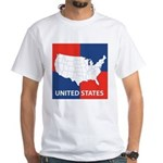 United States Map on 4 Square White T-Shirt