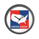 United States Map on 4 Square Wall Clock