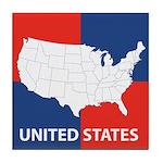 United States Map on 4 Square Tile Coaster