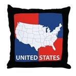 United States Map on 4 Square Throw Pillow