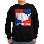 United States Map on 4 Square Sweatshirt (dark)