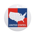 United States Map on 4 Square Ornament (Round)