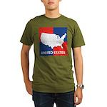 United States Map on 4 Square Organic Men's T-Shir