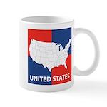 United States Map on 4 Square Mug