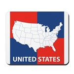 United States Map on 4 Square Mousepad