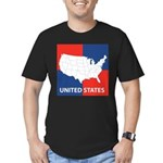 United States Map on 4 Square Men's Fitted T-Shirt