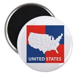 United States Map on 4 Square Magnet