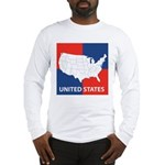 United States Map on 4 Square Long Sleeve T-Shirt