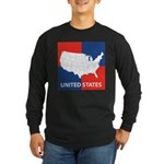 United States Map on 4 Square Long Sleeve Dark T-S
