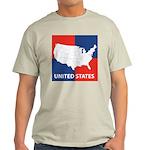 United States Map on 4 Square Light T-Shirt