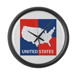 United States Map on 4 Square Large Wall Clock
