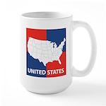 United States Map on 4 Square Large Mug