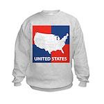 United States Map on 4 Square Kids Sweatshirt