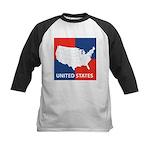 United States Map on 4 Square Kids Baseball Jersey