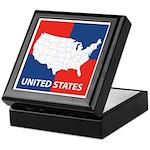 United States Map on 4 Square Keepsake Box