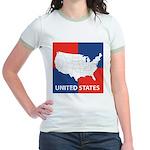 United States Map on 4 Square Jr. Ringer T-Shirt
