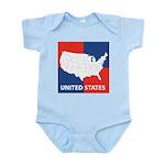 United States Map on 4 Square Infant Bodysuit
