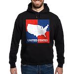 United States Map on 4 Square Hoodie (dark)
