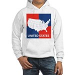 United States Map on 4 Square Hooded Sweatshirt