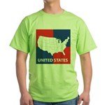 United States Map on 4 Square Green T-Shirt
