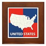 United States Map on 4 Square Framed Tile