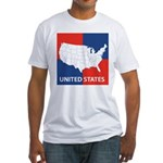 United States Map on 4 Square Fitted T-Shirt