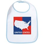 United States Map on 4 Square Bib