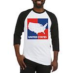 United States Map on 4 Square Baseball Jersey