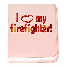 I Heart My Firefighter baby blanket